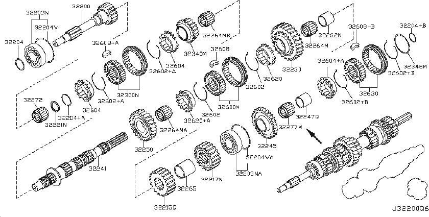 2014 Nissan Xterra Manual Transmission Main Shaft Pilot
