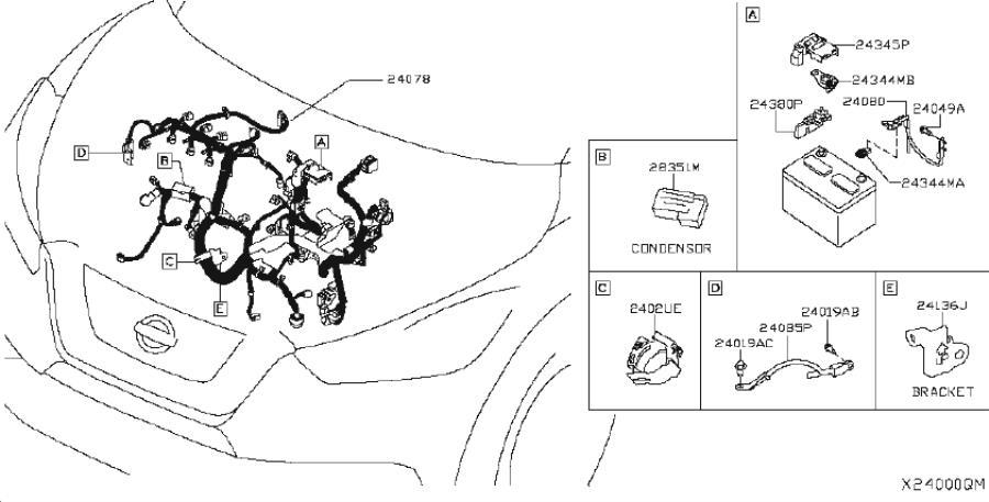 Nissan Kicks Headlight Wiring Harness. DOOR, EGI, BACK
