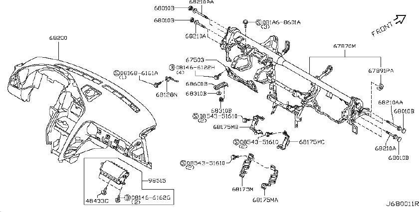 2009 Nissan GT-R Gps Navigation System Bracket. INST