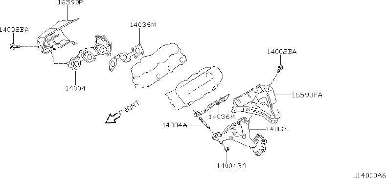 Nissan Pathfinder Air Crossover Gasket. Gasket Intake