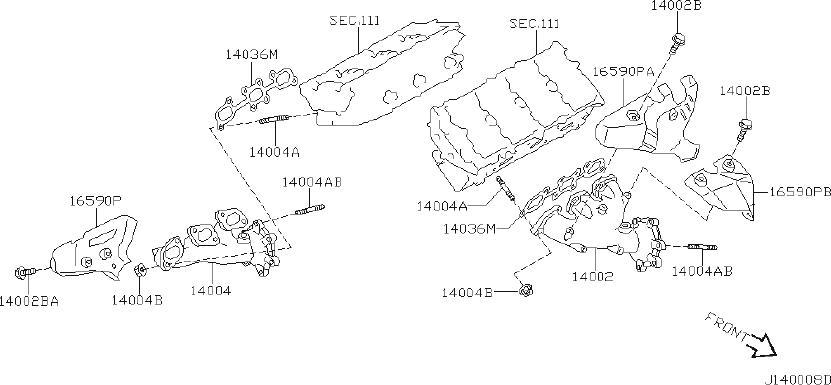 2001 Nissan Pathfinder Engine Intake Manifold Bolt