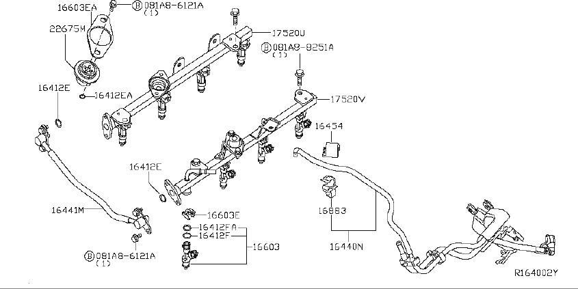 Nissan Pathfinder Fuel Injector. RAIL, INJECTORS, HOSES