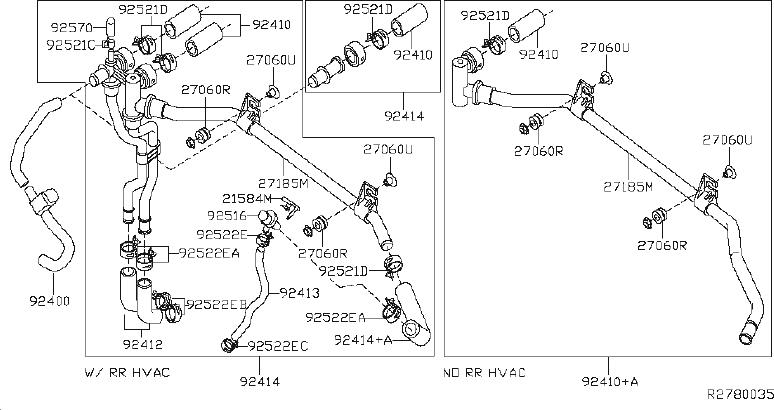 2010 Nissan Hose Heater, Outer. Hose Heater, Outlet