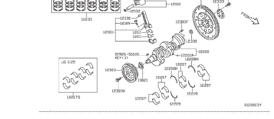 Nissan Frontier Bolt Pulley, Crankshaft. PISTON, FLYWHEEL