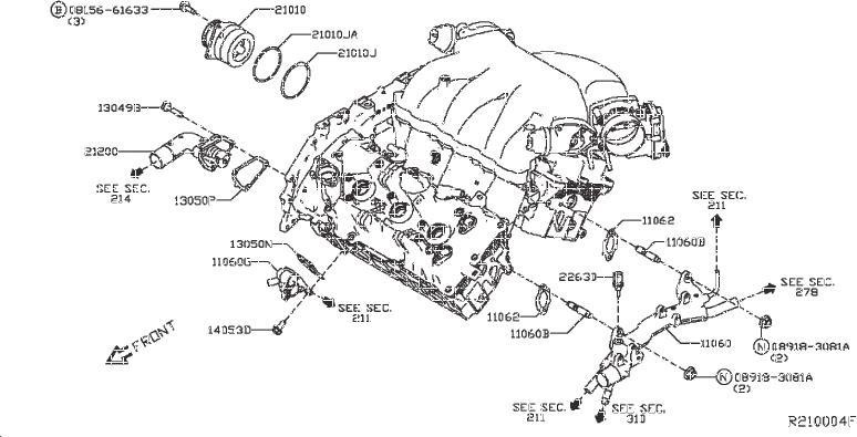 2017 Nissan Pathfinder Engine Coolant Temperature Sensor
