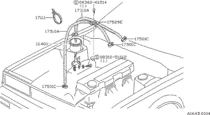 1986 Nissan Stanza Clamp Hose. Holder Injector. (Upper
