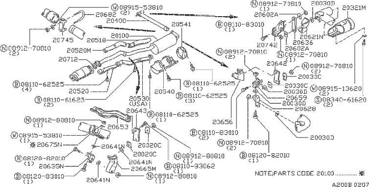 Datsun PICKUP Nut-fix pipe. Muffler, exhaust, front