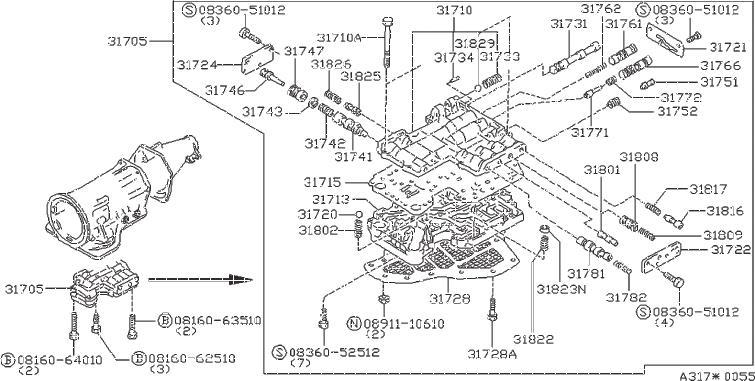 Nissan 300ZX Spring Pressure Modifier. CONTROL, VALVE