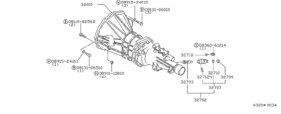 1979 Datsun A10 Pinion-speedometer. Fitting, transmission