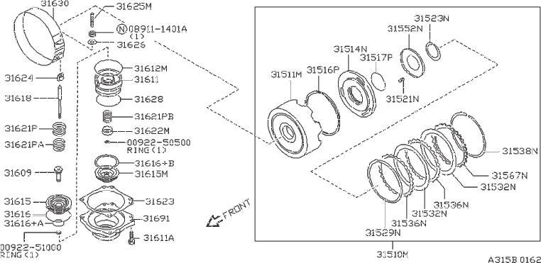 Nissan 240SX Plate Retaining, Overrun Clutch. ACCUMULATOR