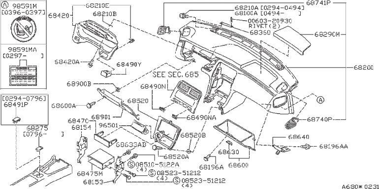 Nissan 240SX Mask Switch Hole. CGJR, ION, POSIT, GJS