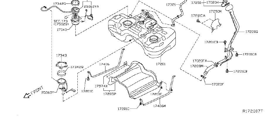 Nissan Rogue Evaporative Emissions System Lines. FUEL