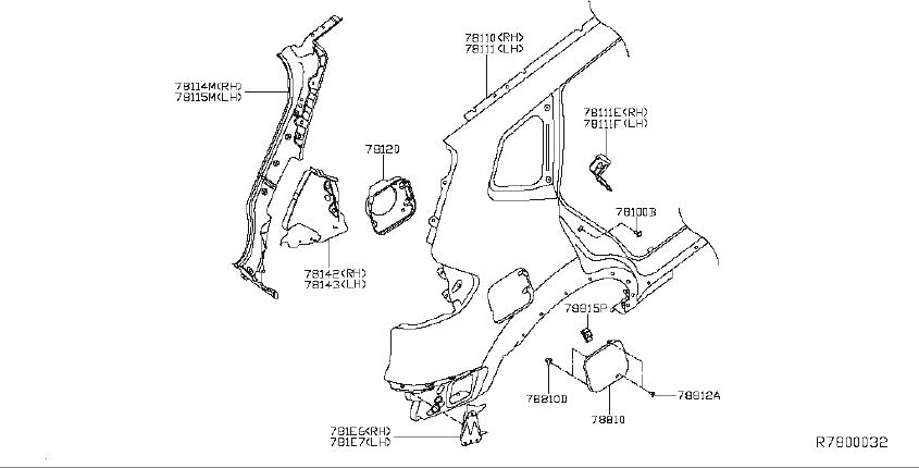 Nissan Rogue Quarter Panel Extension (Right, Rear, Lower