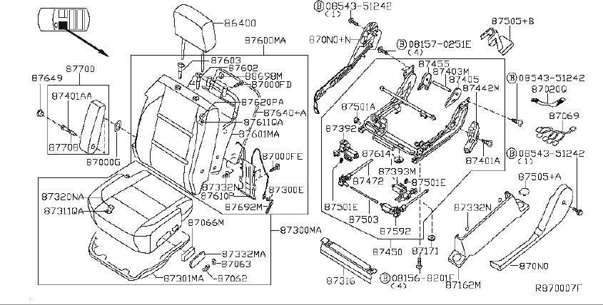 Nissan Titan Seat Cushion Pad (Front). SAB, NON, POWER
