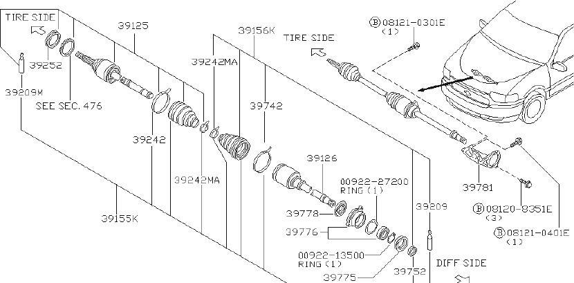 Nissan Quest Cv axle shaft carrier bearing bracket (front