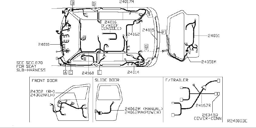 Nissan Quest Srs product harness main. Fitting, room, eng