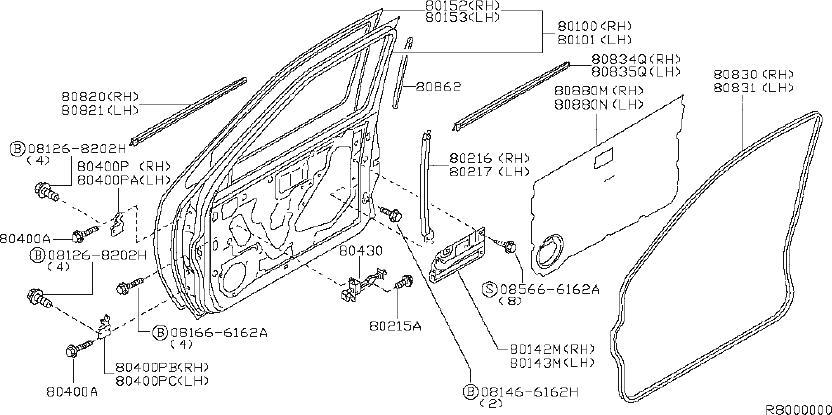 Nissan Xterra Door Window Belt Weatherstrip (Left, Front