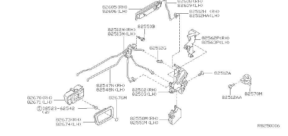2000 Nissan Xterra Door Lock Actuator Motor (Left, Rear