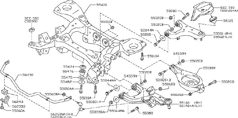 Nissan Armada Suspension Subframe Crossmember (Rear). AWD