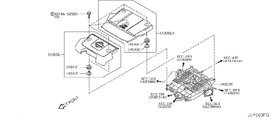 Nissan 370Z Air Crossover Gasket. Gasket Intake Adapter