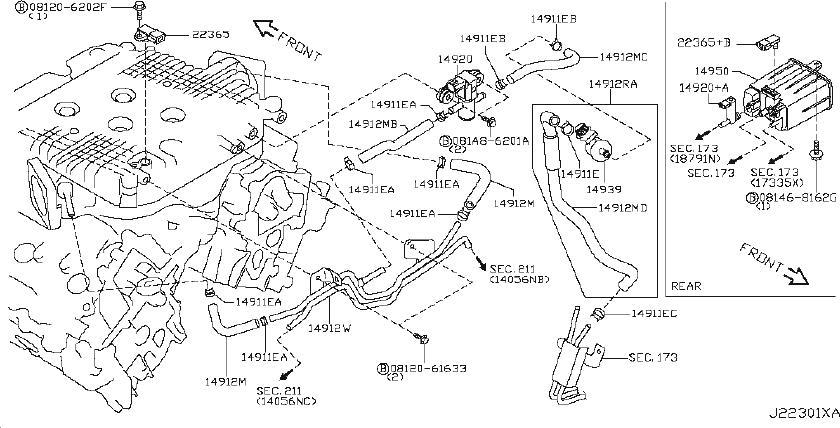Nissan 370Z Evaporator Control System Pressure Sensor. VAC
