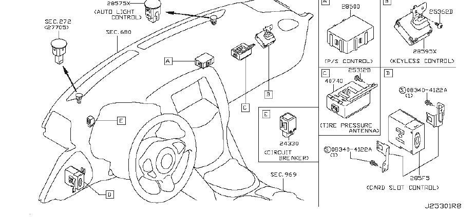 Nissan 370Z Keyless Entry Transmitter. ROOM, INST, ENGINE