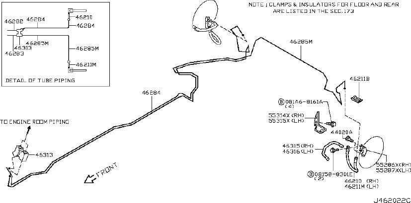 2009 Nissan 370Z Brake Hydraulic Line Bracket (Right, Rear