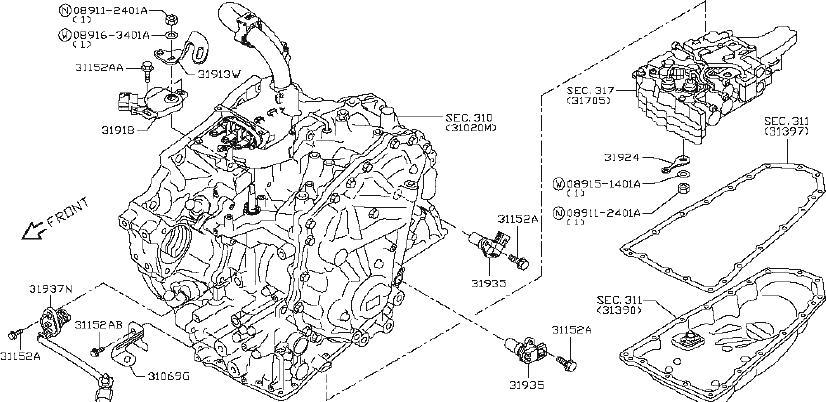 1995 Nissan Park/Neutral Position Switch. SYSTEM, CVT