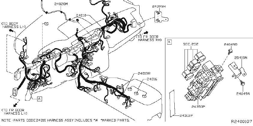 Nissan Murano Alternator Bracket. HARNESS, ENGINE, ROOM