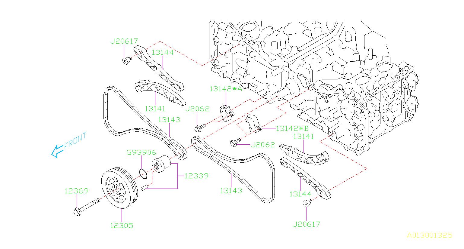 2014 Subaru Legacy Engine Timing Chain Tensioner. Lever