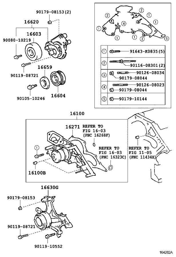 Lexus LS 430 Engine Water Pump. Main Engine Water Pump