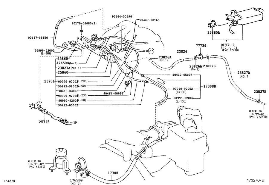 Lexus ES 300 Hose, fuel vapor feed, no. 2. Engine
