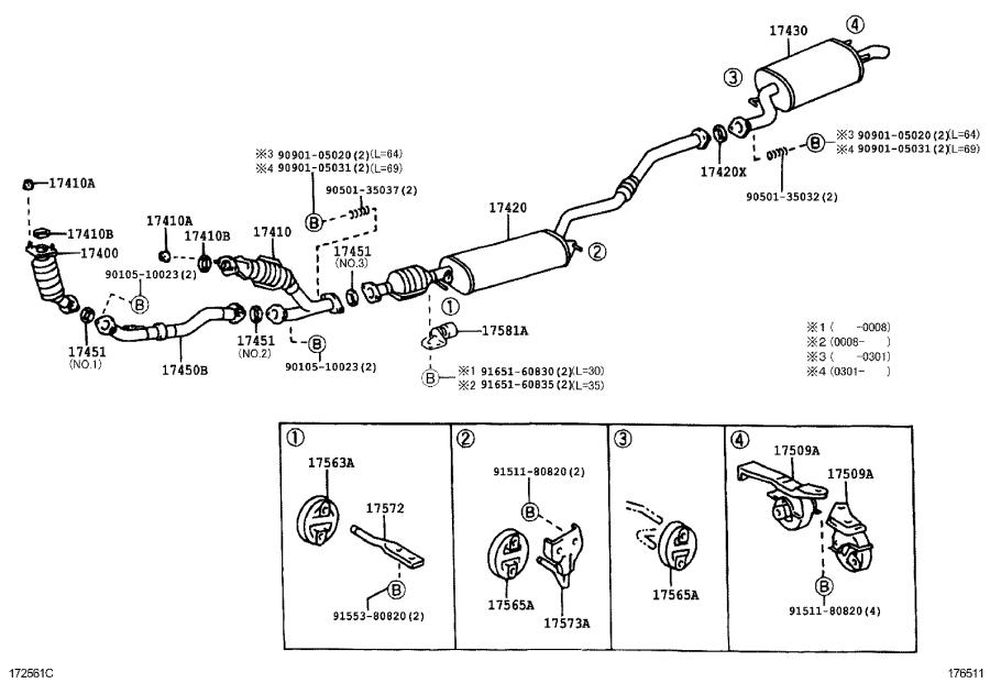 Lexus RX 300 Pipe assembly, exhaust, center. Engine