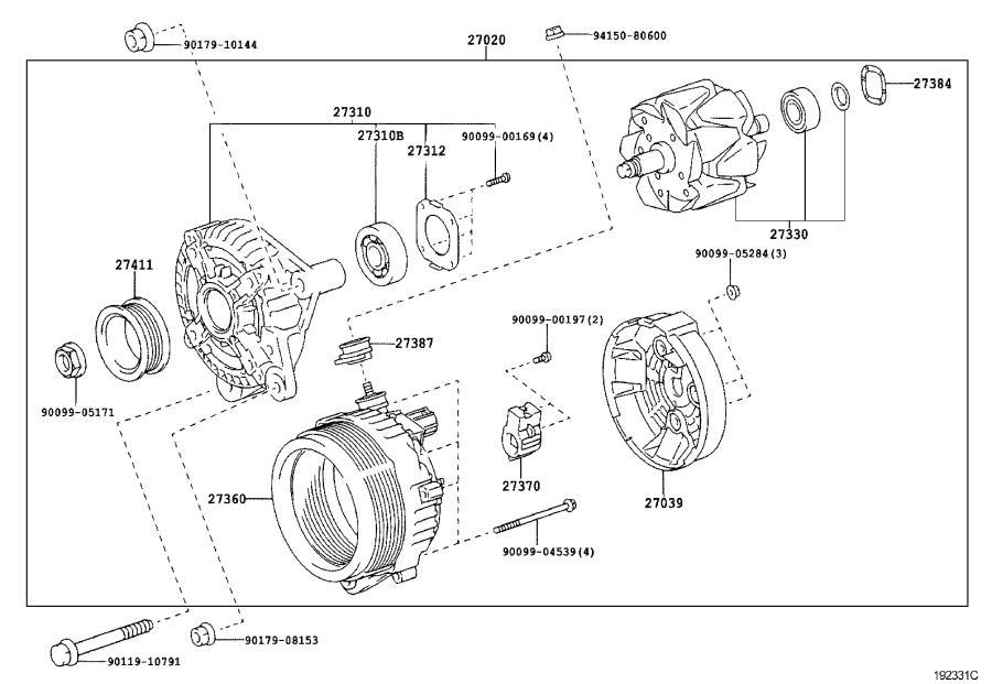 Lexus LX 470 Holder assembly, alternator brush