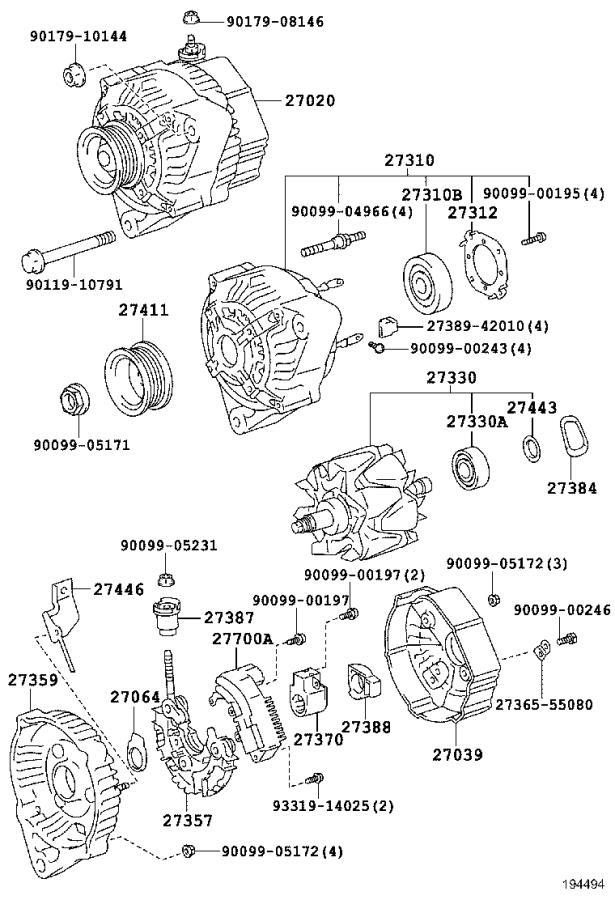 Lexus LS 400 Frame, alternator rectifier end. Usa, engine