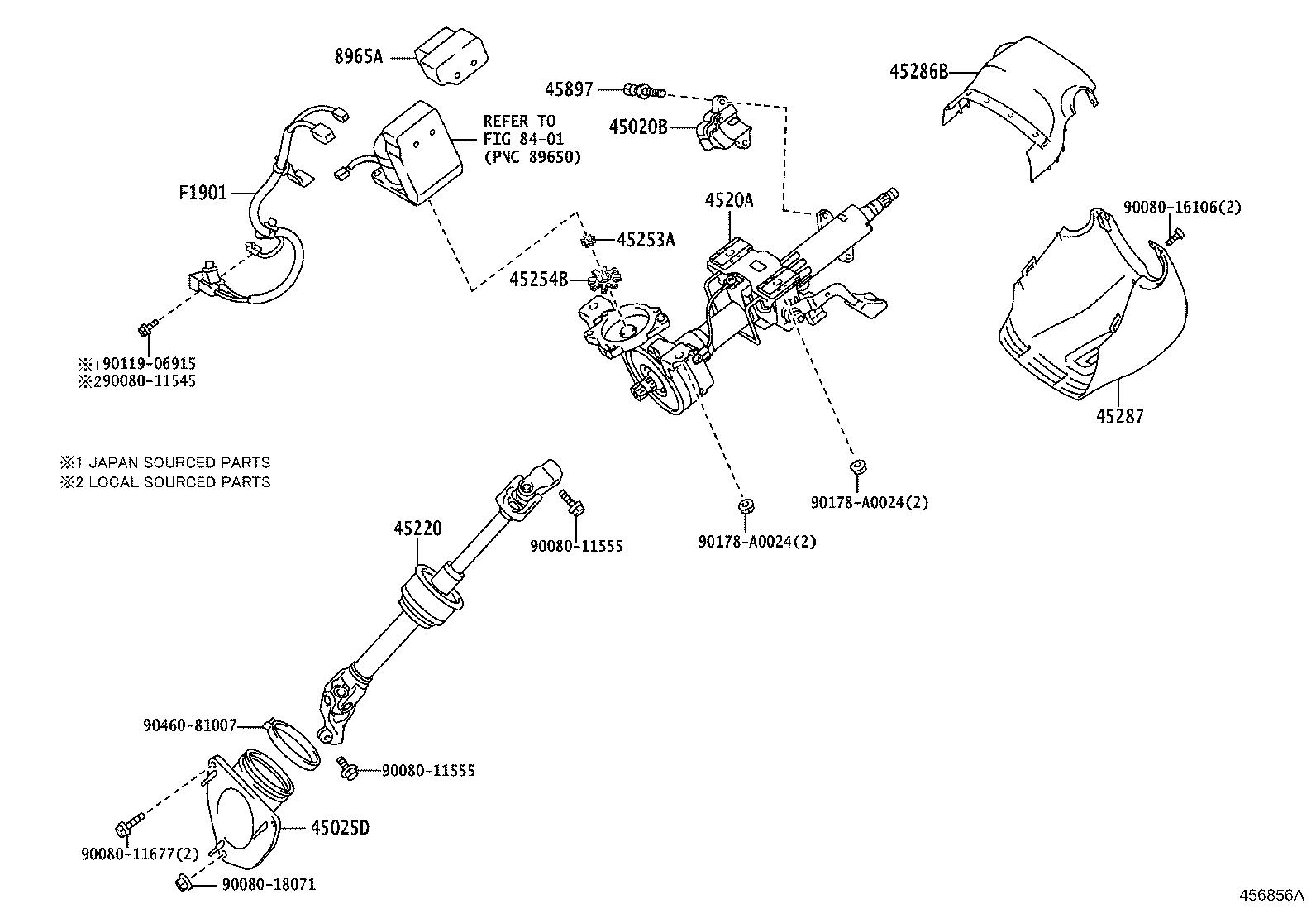 Lexus ES 350 Shaft assembly, steering intermediate. Tilt