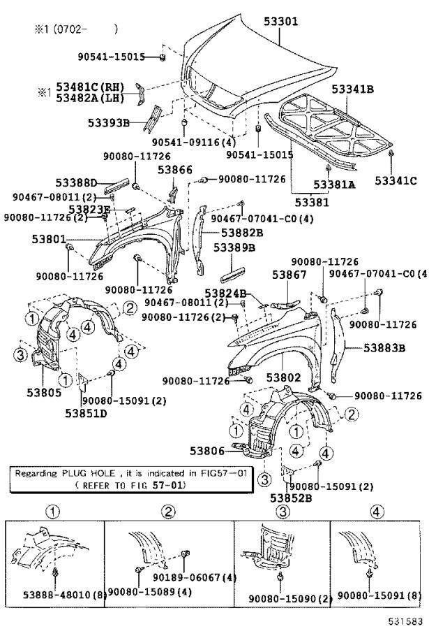 Lexus RX 350 Shield sub-assembly, front fender splash