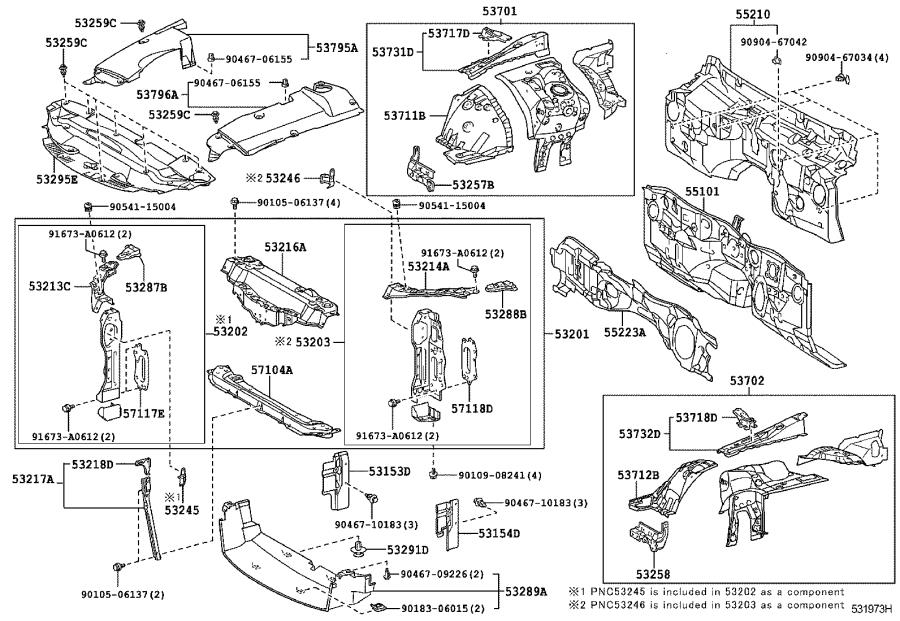 Lexus IS 250 Apron sub-assembly, front fender, right