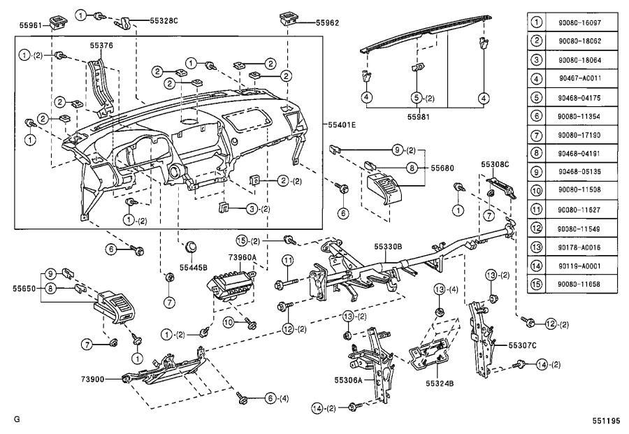 Lexus RX 330 Instrument Panel Crossmember. Interior, Body