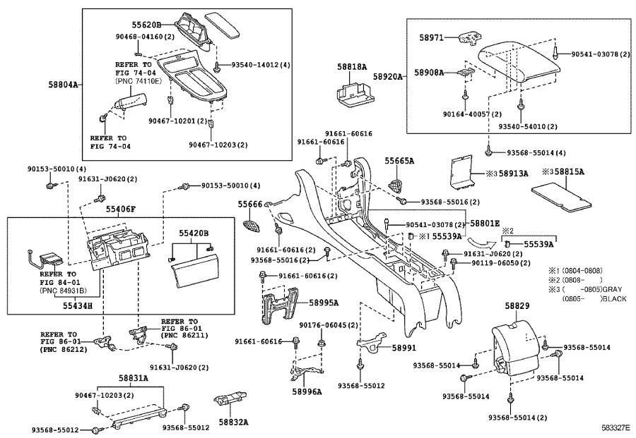 Lexus SC 430 Box sub-assembly, consol. Black