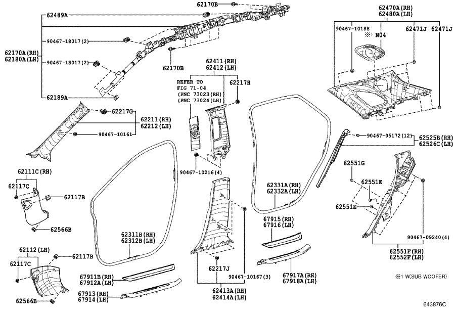 Lexus RX 350 Body C-Pillar Trim Panel Clip (Rear