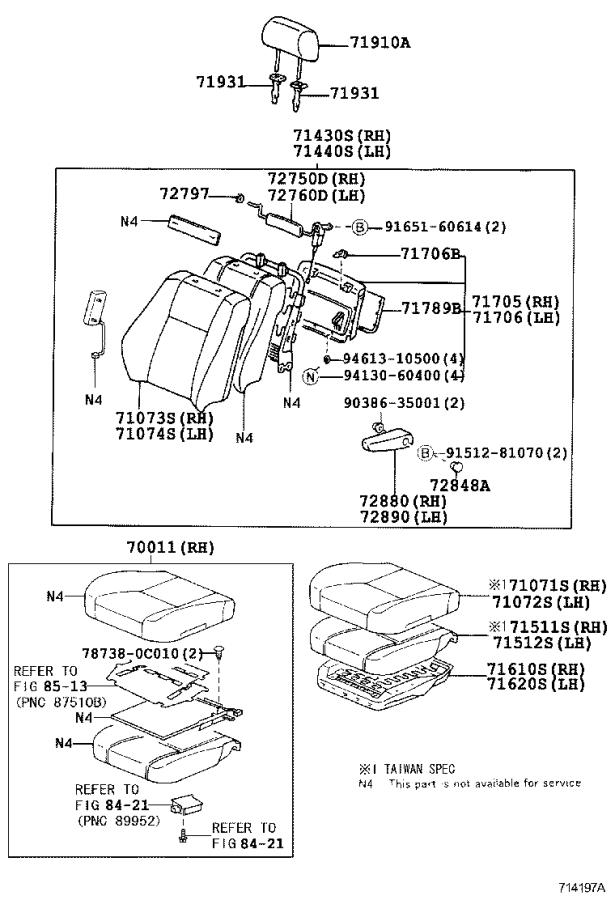 Lexus LX 470 Cover sub-assembly, no. 3 seat back, right