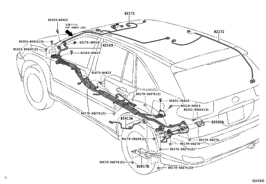 Lexus RX 400h Wire, floor, no. 3. Discharge, headlamp