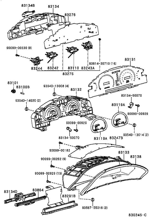 Lexus LS 400 Instrument Cluster Housing Bracket