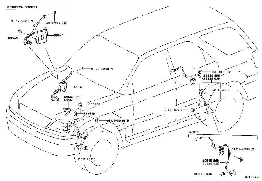 Lexus RX 300 Abs wheel speed sensor (right, rear