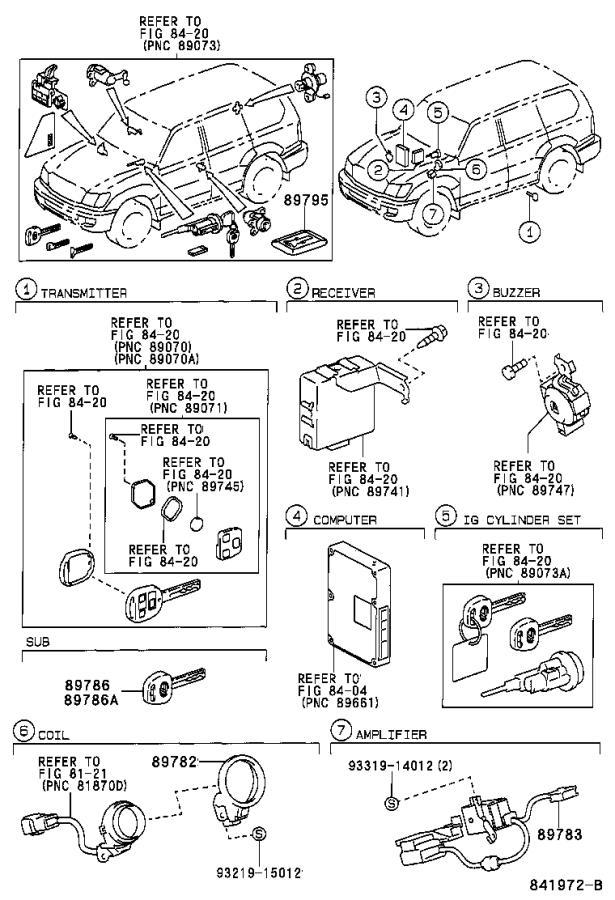 Lexus LX 470 Computer assembly, transponder key. Theft