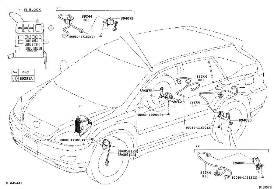 Lexus RX 350 Sensor sub-assembly, height control, rear