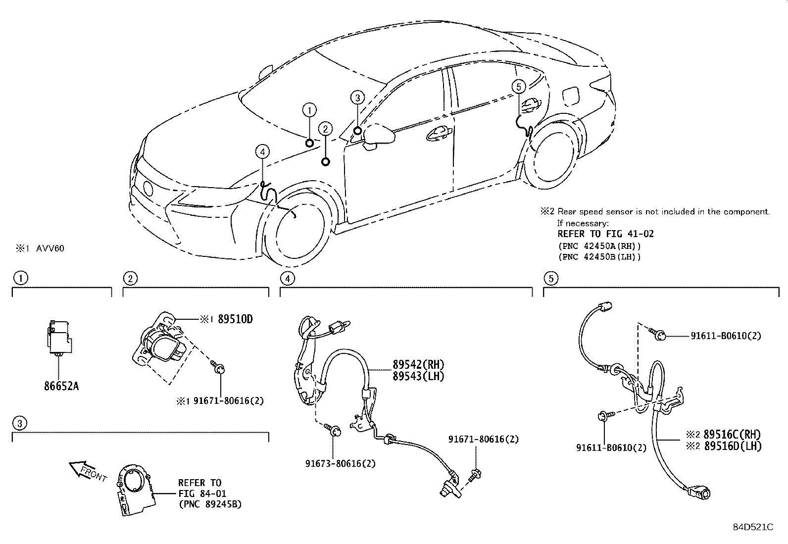 Lexus ES 350 Wire, skid control sensor, right. Vsc