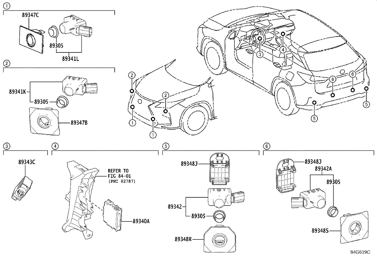 Lexus RX 350 Retainer. Ultrasonic sensor, no. 3