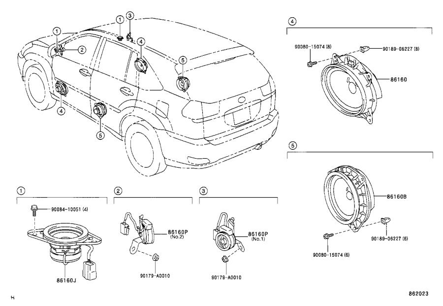 Lexus RX 330 Speaker assembly. Front no. 2; stereo